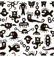 Black and white seamless pattern with funny vector image