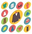 Clothing icons 3d isometric vector image