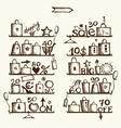 Shopping bags on shelves big sale vector image