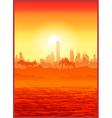 Big city at sunset vector image
