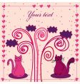 card with cat and hearts vector image vector image
