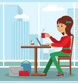 young girl sitting at table drinking coffee and vector image
