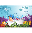 A bathtub under the sea with a mermaid vector image