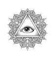 All seeing eye pyramid symbol Tattoo vector image