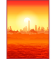 Big city at sunset vector image