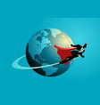 businessman flying around the world vector image