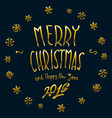 gold Merry Christmas and New Year 2016 lettering vector image
