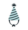 hand drawing blue party hat with lines decoratives vector image