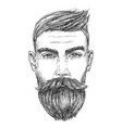 hand drawn portrait of bearded man full face vector image