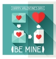 Happy Valentines in flat style vector image