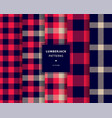 lumberjack seamless patterns set vector image