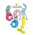 mermaid poster with inscription mermaids vector image