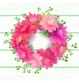 Postcard with Pink Blooming Flowers Bouque vector image