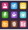 Love icon set vector image vector image