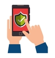 smartphone device with security shield isolated vector image
