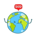Cartoon Earth globe with SOS message vector image