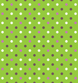 green background fabric with white pink brown dots vector image vector image