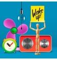 Wake up Workspace mock up with analog alarm clock vector image