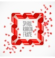 Square frame of red spiral vector image