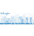 Outline Wilmington Skyline with Blue Buildings vector image