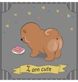 Cute puppy with donuts Vintage card vector image