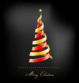Elegant golden Christmas background with tree and vector image