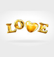 heart gold foil glitter hand drawn icon on white vector image