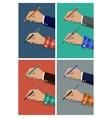 Pencil in hand cartoon Hands vector image