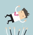 Successful businessman throwing up in the air vector image