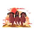 three horses in harness running vector image