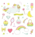 Unicorn magic set with rainbow stars and sweets vector image