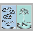 Card clouds and tree vector image