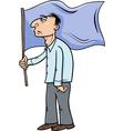 man with flag cartoon vector image vector image