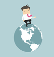 Businessman running on the globe vector image vector image