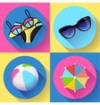 Women Beach icon set Swimsuit ball sunglasses vector image