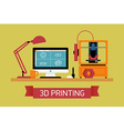 3D Printing Flat Design vector image