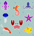 Funny Sea Creatures Animal Stickers Set vector image