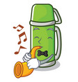 with trumpet thermos character cartoon style vector image