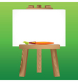 wooden easel canvas paintbrush vector image
