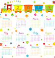 2017 Calendar with toy train and flowers vector image vector image