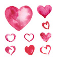 Set of Watercolor painted pink heart vector image