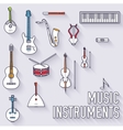 Thin lines outline music instruments icons vector image
