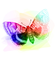 Butterfly Iridescen colours Unfinished Watercolor vector image vector image