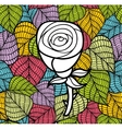 Black and white rose on the colorful background vector image