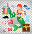cute mermaid with marine life vector image