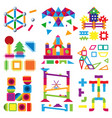 kids building blocks toy baby colorful vector image