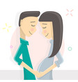 man touching the belly of his pregnant wife full vector image