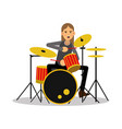 mucisian man with long hairs playing on drum kit vector image