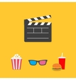 Open movie clapper board 3D glasses popcorn soda vector image