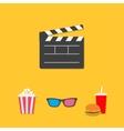 Open movie clapper board 3D glasses popcorn soda vector image